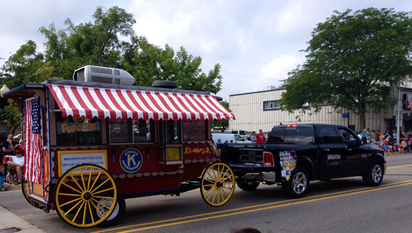 Kiwanis Popcorn wagon in the parade