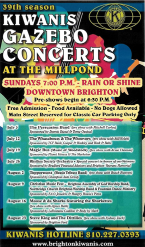 Kiwanis Announces the lineup for the 2015 Concerts at the Mill Pond