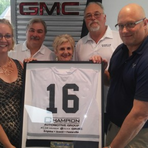 Champion Auto Group presented with Thank You Red Wing Jersey